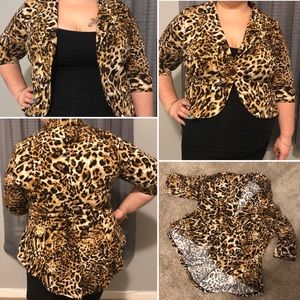 Plus Sized Leopard Print Jacket Blazer